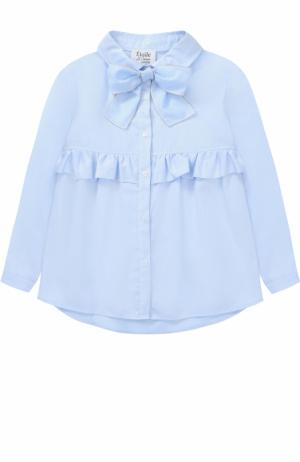Хлопковая блуза с бантом и оборкой Aletta. Цвет: голубой