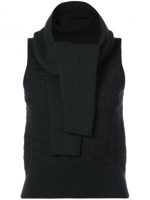 Топ с декором в форме шарфа Carven. Цвет: чёрный