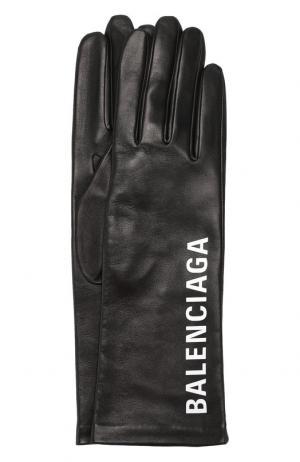 Кожаные перчатки с логотипом бренда Balenciaga. Цвет: черный