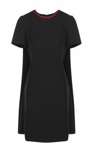 Шерстяное мини-платье с кейпом Alexander McQueen. Цвет: черный