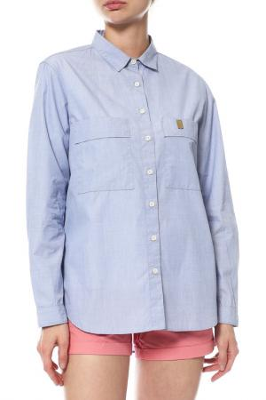 Рубашка FOLK. Цвет: голубой