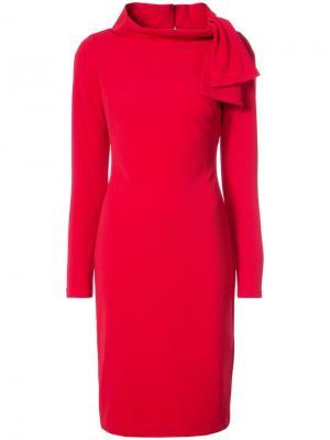 Приталенное платье с завязками Badgley Mischka. Цвет: красный
