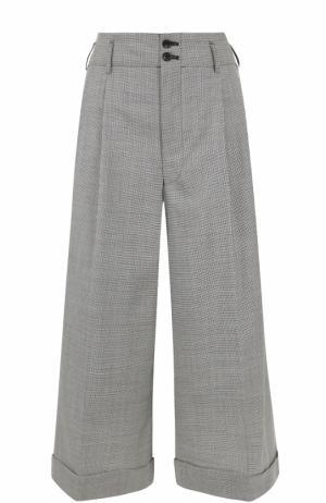 Укороченные широкие брюки со складками Comme des Garcons. Цвет: черно-белый
