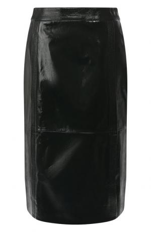 Кожаная юбка-миди Givenchy. Цвет: зеленый