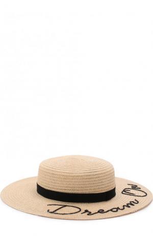 Шляпа Colette с лентой и аппликацией Eugenia Kim. Цвет: бежевый