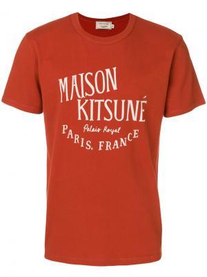 Футболка с логотипом Maison Kitsuné. Цвет: жёлтый и оранжевый