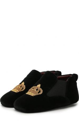 Текстильные пинетки с эластичными вставками Dolce & Gabbana. Цвет: черный