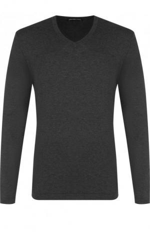 Однотонный хлопковый пуловер James Perse. Цвет: темно-серый