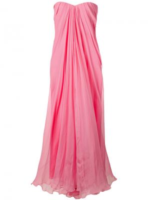 Вечернее платье-бюстье с драпировкой Alexander McQueen. Цвет: розовый и фиолетовый