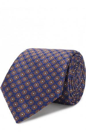 Шелковый галстук с узором Canali. Цвет: сиреневый