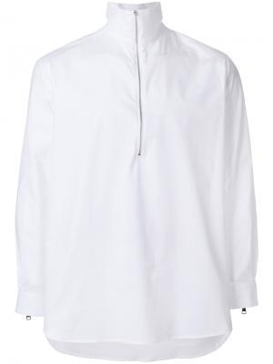 Рубашка с воротником на молнии Lucio Vanotti. Цвет: белый