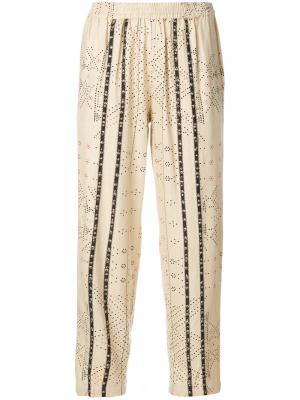 Укороченные брюки с бусинами Mes Demoiselles. Цвет: телесный