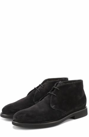 Замшевые ботинки на шнуровке с внутренней меховой отделкой Doucals Doucal's. Цвет: черный
