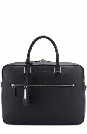 Кожаная сумка для ноутбука с плечевым ремнем Saint Laurent. Цвет: темно-синий