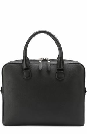 Кожаная сумка для ноутбука с внешним карманом на молнии Lanvin. Цвет: черный