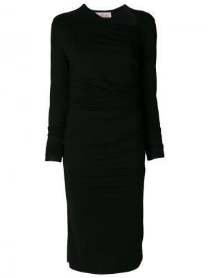 Присборенное платье с асимметричной горловиной A.F.Vandevorst. Цвет: чёрный