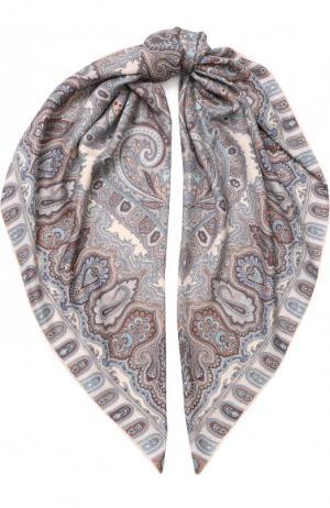Платок из смеси кашемира и шелка с принтом Michele Binda. Цвет: разноцветный