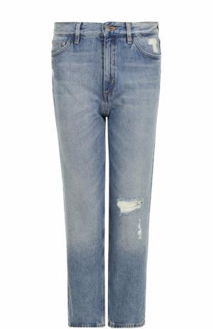 Джинсы прямого кроя с потертостями MiH Jeans. Цвет: голубой
