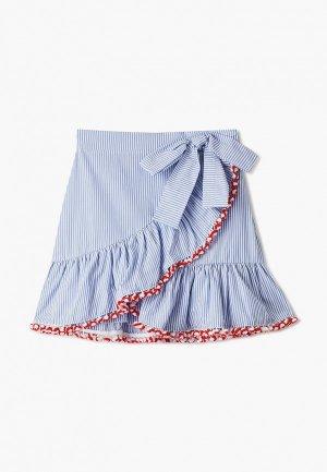 Юбка Stella Jean Kids. Цвет: голубой