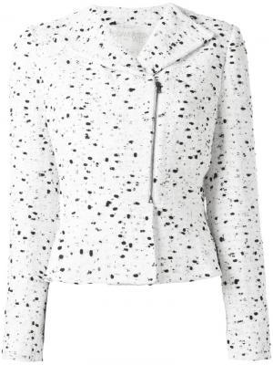 Твидовый пиджак на молнии Giambattista Valli. Цвет: белый