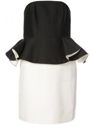 Двухцветное платье с баской Halston Heritage. Цвет: чёрный