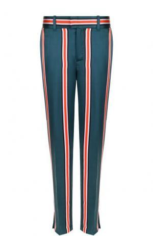 Шелковые брюки прямого кроя в полоску Equipment. Цвет: оливковый