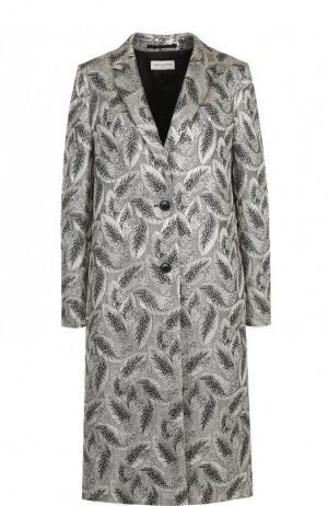 Пальто прямого кроя с узором Dries Van Noten. Цвет: серебряный