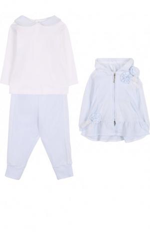 Хлопковый комплект из брюк с лонгсливом и кардиганом Aletta. Цвет: голубой