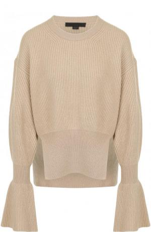 Пуловер из смеси шерсти и кашемира фактурной вязки Alexander Wang. Цвет: бежевый
