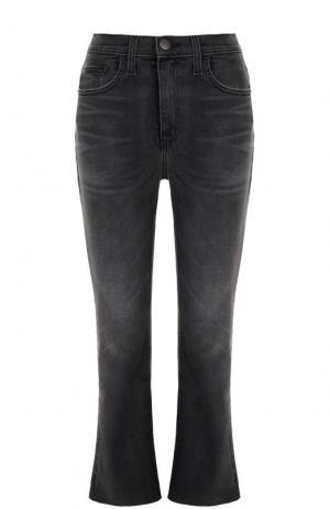 Укороченные расклешенные джинсы с потертостями Current/Elliott. Цвет: черный