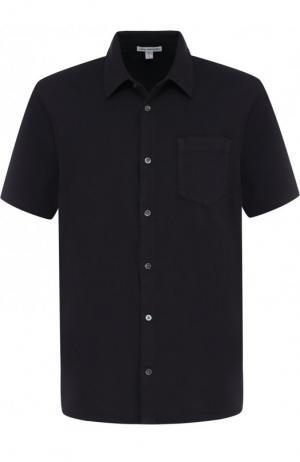 Хлопковая рубашка с короткими рукавами James Perse. Цвет: темно-синий