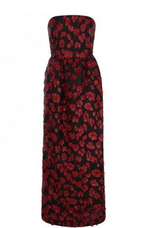 Приталенное платье-бюстье с контрастной отделкой Oscar de la Renta. Цвет: бордовый