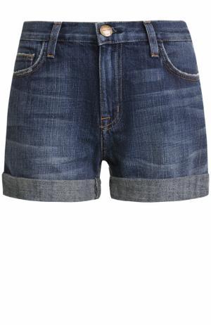 Джинсовые мини-шорты с потертостями Current/Elliott. Цвет: синий