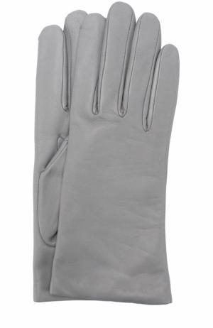 Кожаные перчатки с подкладкой из кашемира и шерсти Agnelle. Цвет: серый