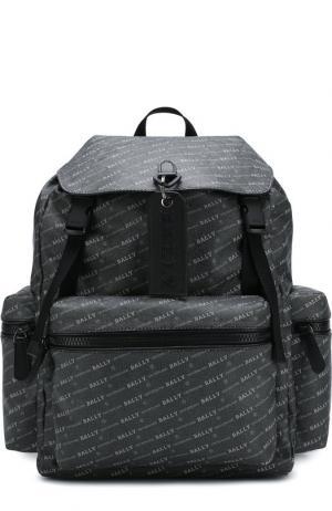 Текстильный рюкзак Crew с внешними карманами на молнии Bally. Цвет: черный