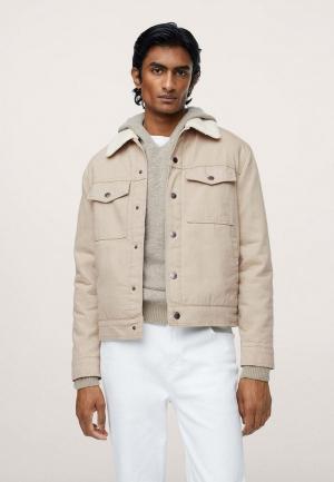 Куртка джинсовая Mango Man. Цвет: бежевый