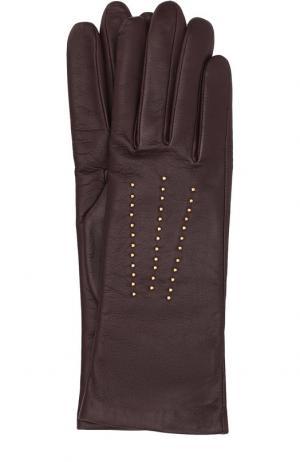 Кожаные перчатки с отделкой стразами Agnelle. Цвет: темно-фиолетовый