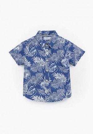 Рубашка Mango Kids. Цвет: синий