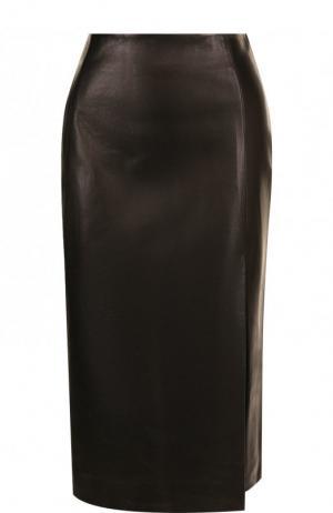 Кожаная юбка с высоким разрезом DROMe. Цвет: черный
