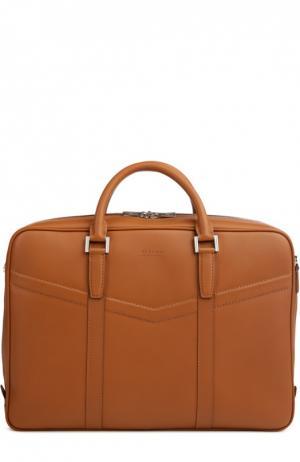 Кожаная сумка для ноутбука с прострочкой Kiton. Цвет: светло-коричневый