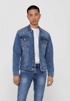 Куртка джинсовая Only & Sons. Цвет: синий
