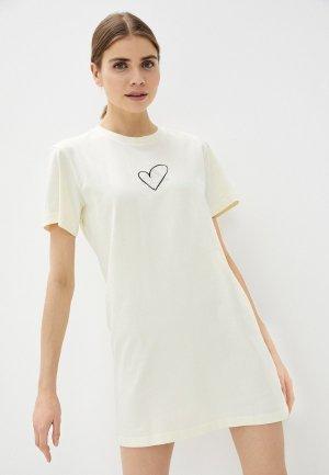 Платье adidas. Цвет: бежевый