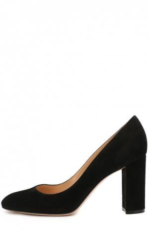 Замшевые туфли Linda на устойчивом каблуке Gianvito Rossi. Цвет: черный