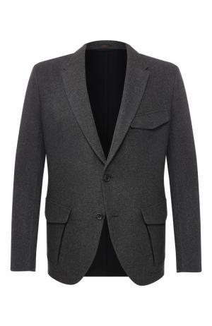 Кашемировый пиджак на двух пуговицах Zegna Couture. Цвет: серый