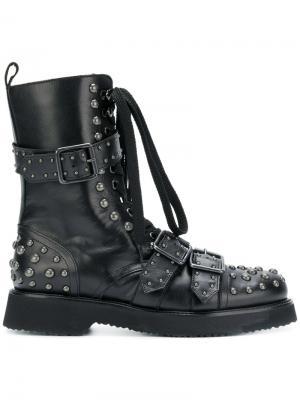 Ботинки в стиле милитари с заклепками Anna F.. Цвет: чёрный