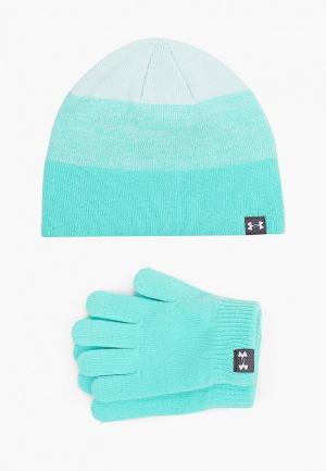 Шапка и перчатки Under Armour. Цвет: бирюзовый