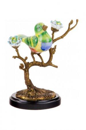 Фигурка Птица на ветке ГЛАСАР. Цвет: зеленый