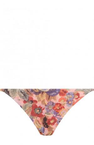 Плавки-бикини с цветочным принтом Zimmermann. Цвет: разноцветный