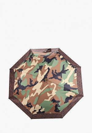 Зонт складной Moschino. Цвет: хаки