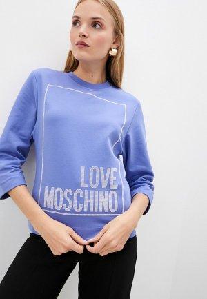 Свитшот Love Moschino. Цвет: голубой